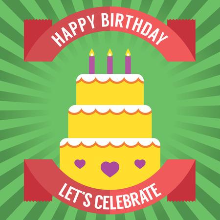 pastel feliz cumplea�os: Ilustraci�n feliz cumplea�os de la torta Vector