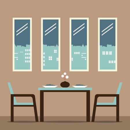 dining room: Flat Design Interior Dining Room Vector Illustration