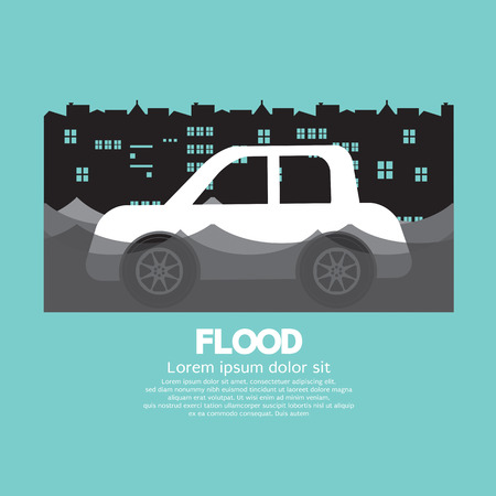 Cars Side View In A Flood Vector Illustration