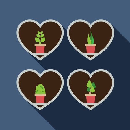 plat: Set Of Pot Plat In The Boxes Vector Illustration