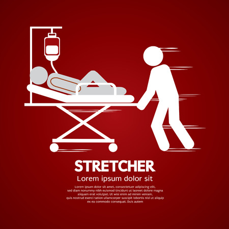 emergency stretcher: Medical Workers Moving Patient On Stretcher Illustration Illustration
