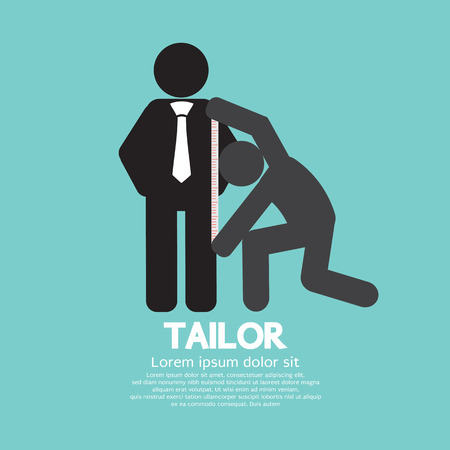 tailored: Customer Getting Measure By Tailor Symbol Illustration