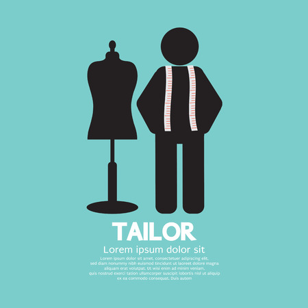 tailor measure: Black Symbol Tailor With Mannequin Illustration Illustration