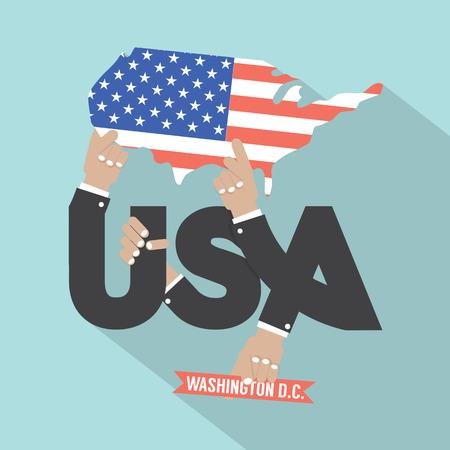 washington dc: USA Typography Design Vector Illustration