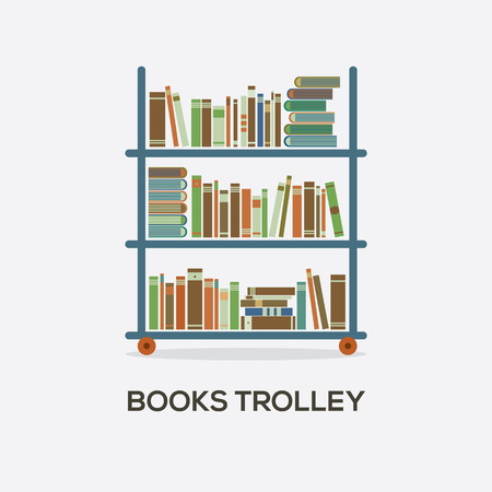 Flat Design Books Trolley Vector Illustration