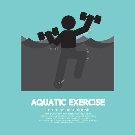 gimnasia aerobica: Ilustración Ejercicio Negro Símbolo Vector Acuático Vectores