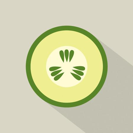 cucumber slice: Flat Design Cucumber Icon Vector Illustration