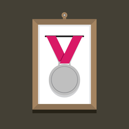 silver picture frame: Silver Medal In A Picture Frame Vector Illustration