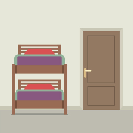 bunkbed: Bunk Bed With A Closed Door Vector Illustration Illustration