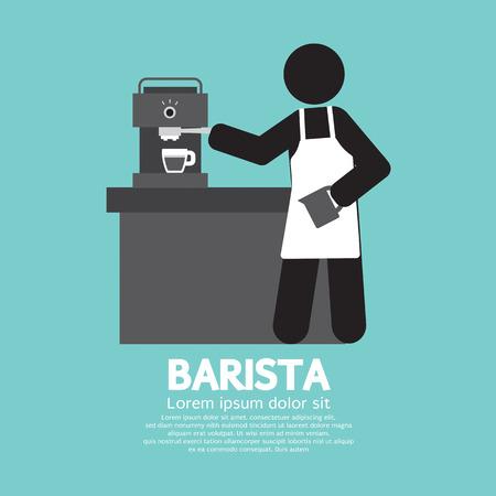 barista: Barista Working With Espresso Machine Vector Illustration