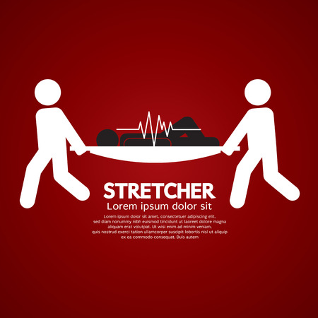 stretcher: Medical Workers Moving Patient On Stretcher Vector Illustration