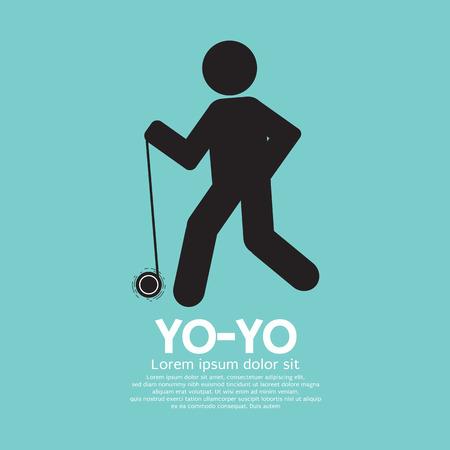 yoyo: Black Graphic Symbol Yoyo Player Vector Illustration