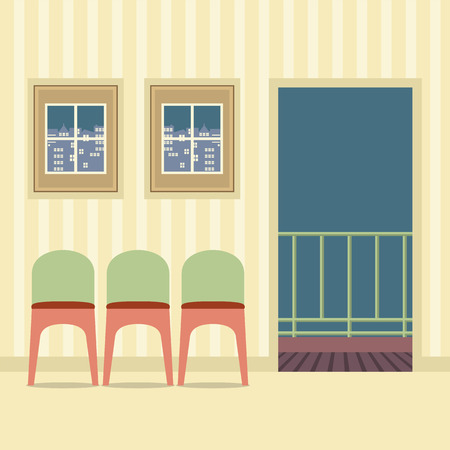 balcony view: Three Chairs In Empty Room Vector Illustration Illustration