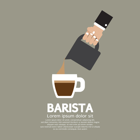 barista: Hand With Coffee Pouring Jug Barista Concept