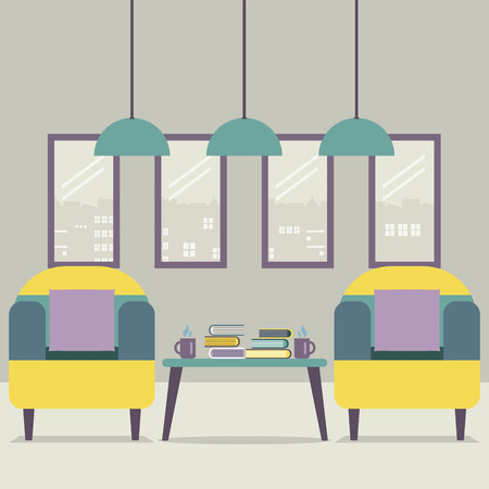 divan: Two Sofas With Books On Table Vector Illustration