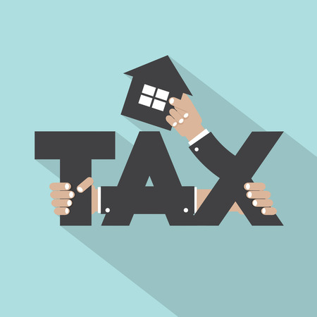 estate: Home Tax Typography Design Vector Illustration
