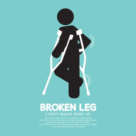Black Symbol Broken Leg Vector Illustration  イラスト・ベクター素材