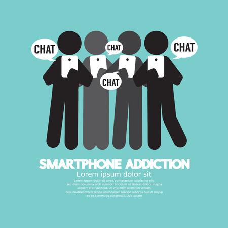 Black Symbol Smartphone Addiction Vector Illustration Vector Illustration