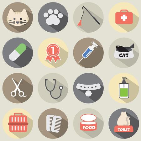 toy toilet bowl: Flat Design Cat Icon Set Vector Illustration