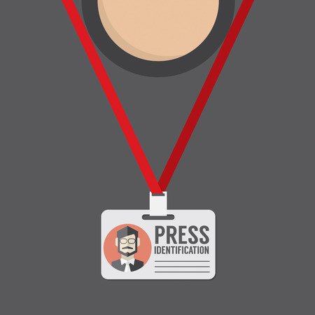 card holder: Flat Design Press Identification Vector Illustration Illustration