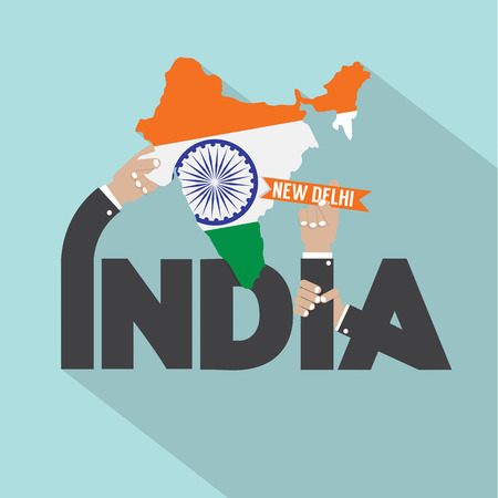 nations: India Typography Design Vector Illustration