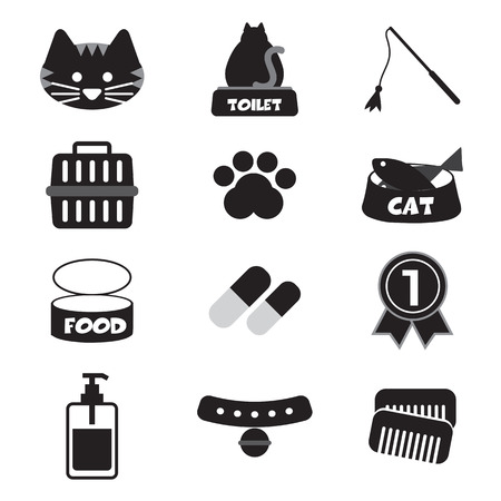 cat grooming: Flat Design Cat Black Icon Set Vector Illustration