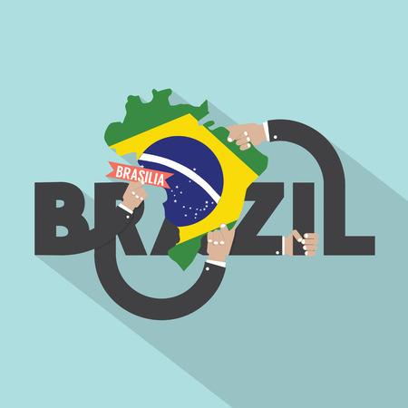 typography vector: Brasilia The Capital City Of Brazil Typography Design Vector Illustration