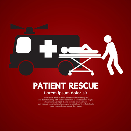 accident patient: Patient Rescue Symbol Vector Illustration