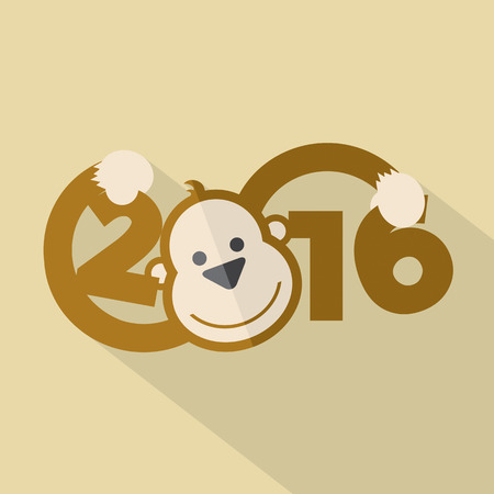 smile happy: 2016 Typography With Cute Monkey Vector Illustration Illustration