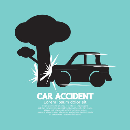 car crash: Car Crash Big Tree Illustration