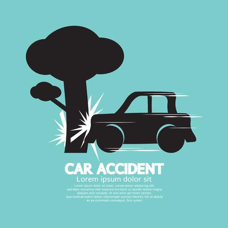 car accident: Car Crash Big Tree Illustration