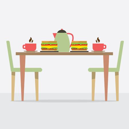 toasted sandwich: Flat Design Breakfast On Table Illustration Illustration