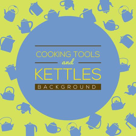 kettles: Cocina Herramientas y hervidores ilustración de fondo Vectores