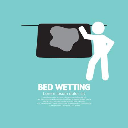 incontinence: Bed Wetting Symbol Illustration Illustration