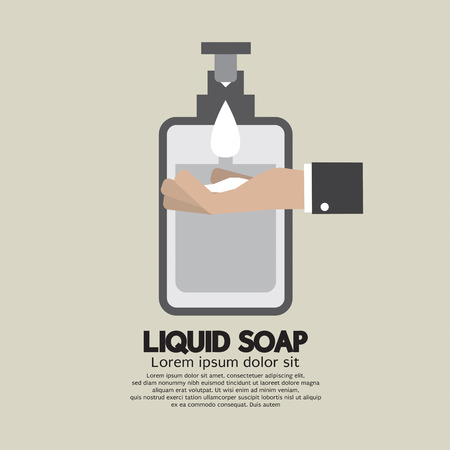 hand care: Hand With Liquid Soap Illustration