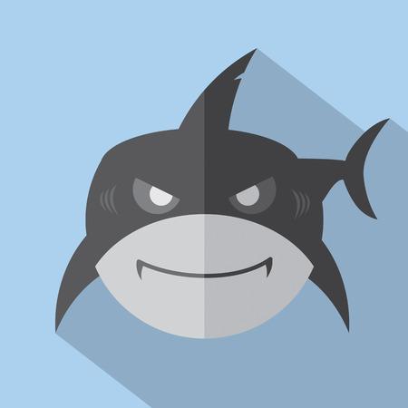 white shark: Modern Flat Design Shark Icon Illustration Illustration