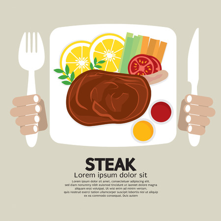 steak beef: Top View Of Steak Plate Illustration