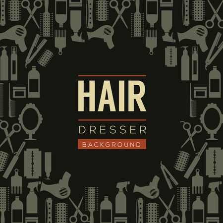hair beauty: Hair Dresser Background Illustration