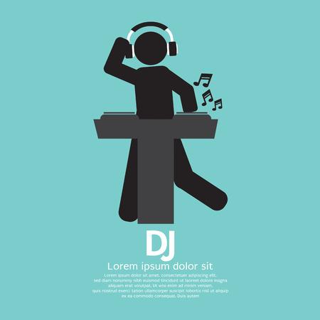 disc jockey: Black Symbol Disc Jockey Illustration Illustration