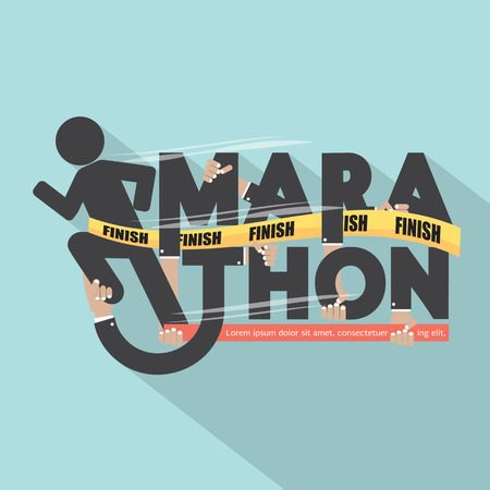 marathon: Runner With Marathon Typography Design Illustration