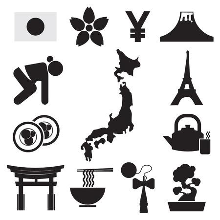 Set of Japan Symbol Icons Vector