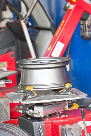 close fitting: Tire Fitting Machine Close Up