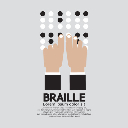 Braille Language Reading By The Blind Vector Illustration Illustration
