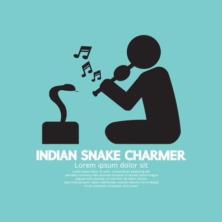 snake charmer: Black Symbol Indian Snake Charmer Vector Illustration Illustration