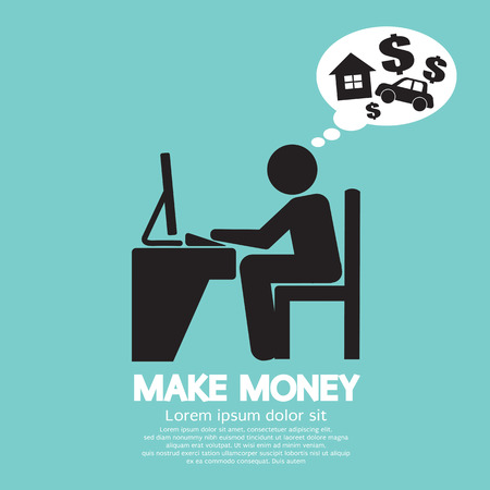 Make Money Person Working With Laptop Vector Illustration