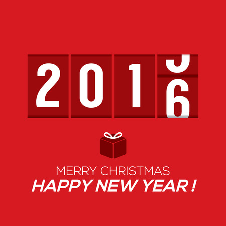 countdown clock: 2016 New Year Card Odometer Style Vector Illustration