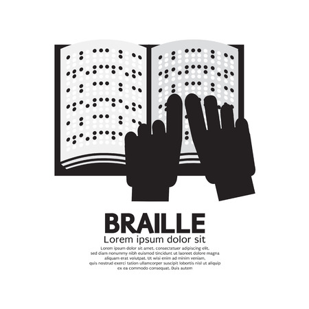 braille: Braille Language Reading By The Blind Vector Illustration Illustration