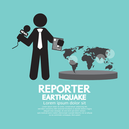 calamity: Reporter With Earthquake News Vector Illustration