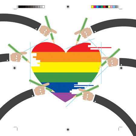 homosexual wedding: LGBT Design With Hands Vector Illustration