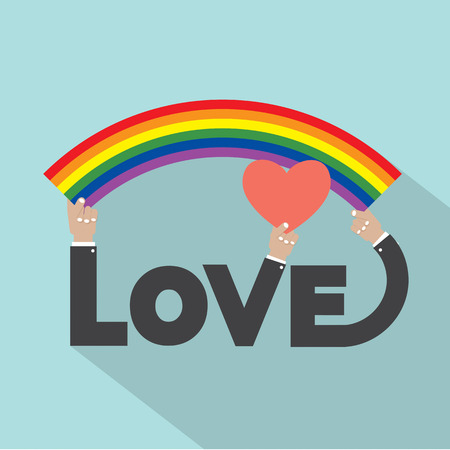 gay pride flag: LGBT Rainbow With Heart Design Vector Illustration Illustration